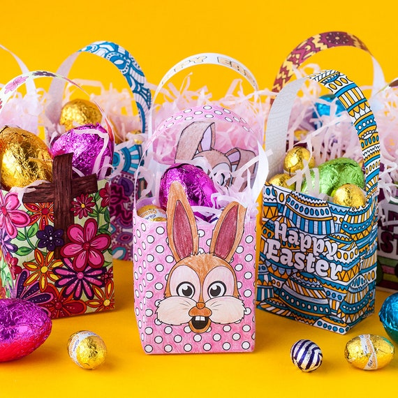 Easter gift bags 8 pack printable gift bag template for easter gift bags 8 pack printable gift bag template for easter mini easter gift bags printable party favor bags easter party bags pdf negle Image collections