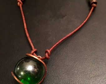 Green glass ball necklace