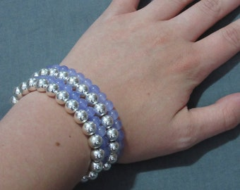 Purple and silver four-stranded beaded bracelet