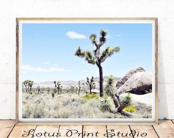 Joshua Tree Print, California Desert Landscape, Minimalist Cactus Wall Art, Digital download, Large Poster,  #396