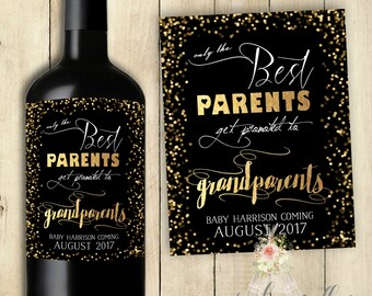 Pregnancy Announcement Only the Best Parents get Promoted to Grandparents Wine Label PRINTABLE Customized New Baby Announcement