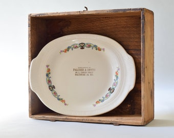 Vintage Advertising Giveaway Serving Plate, Platter. Colorful Floral Transferware. Palcher & Smyth, Baltimore Maryland. Retro Wall Art