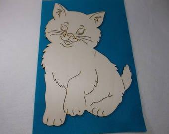 1 Cat, wood, 19 x 28 cm (10-0016D)