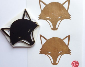 fox rubber stamp | woodland animal stamp | birthday christmas card making | diy block printing | nature lovers | hand carved by talktothesun