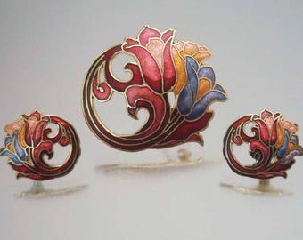Tulip Brooch Earrings Cloisonne Set Beautiful