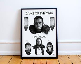 Game of Thrones House Stark Jon Snow Sansa Bran Arya poster