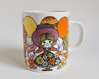 Vintage Little Girl and Poodle with Balloons Coffee Mug, 1960s/1970s