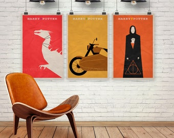 Harry Potter Poster Set. Set of 3 Prints. Movie Poster. 13x19, 16x20, 18x24, A1 size. Pop Culture and Modern Home Decor Poster. Item No. 032