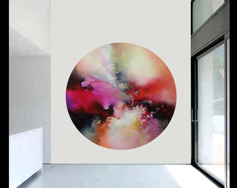 Colourful, contemporary. abstract painting on round canvas by artist Simon Kenny 'In The Shadows of a Thousand Suns'