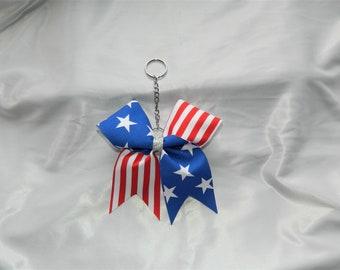Patriotic American Flag Bow Keychain