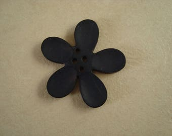 Bead 40mm dark blue orchid flower
