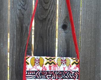 Small Messenger Bag, African Bag, Tribal Crossbody Bag, Red Messenger, Kids Bag, Kids Crossbody, Afrocentric Gifts