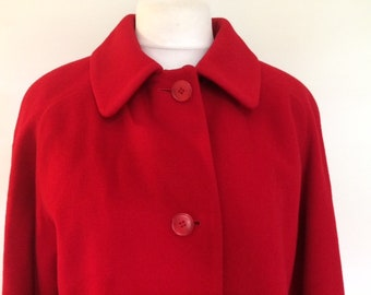 Vintage red wool cashmere coat Lampert of London by Admyra size medium large
