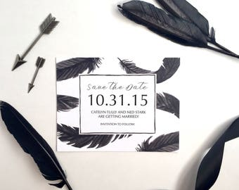 Custom Wedding Save the Date Card // Raven Feathers // Game of Thrones Inspired