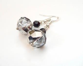 Gray Earrings, Black Earrings, Dangle Earrings, Sparkly Earrings, Silver Earrings, Drop Earrings, Glass pendant earrings