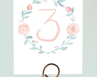 Watercolor Wreath Table Numbers, Pastel Wedding Table Numbers, Floral Wreath Table Numbers, Pretty Table Numbers, Romantic Table Numbers