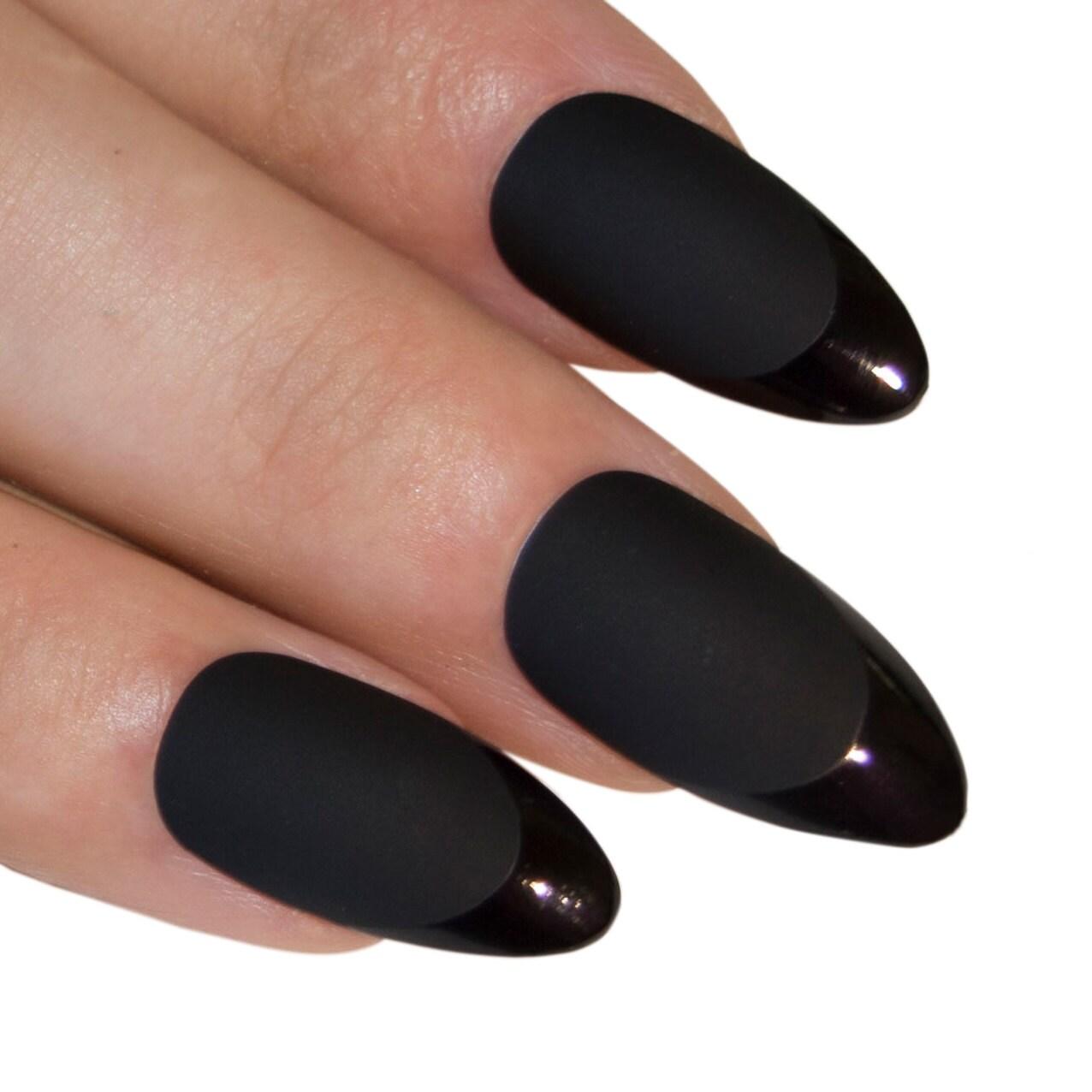 Bling Art Stiletto False Nails Fake Acrylic Matte Black Full Cover ...