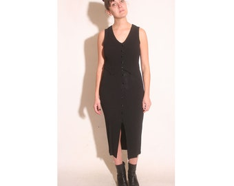 Vintage 1990s Tank Vest fitted black Breakin Loose goth dress size 5/6