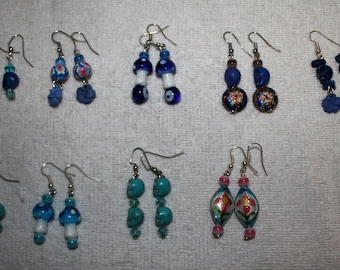 Day of the Dead Skull Earrings Blues