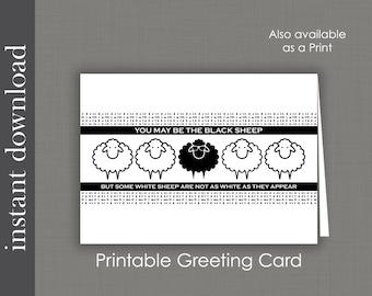 Funny Friend Card, Black Sheep, printable card, funny birthday card, funny sister card, sibling card, family black sheep, encouragement card