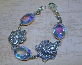 Art Nouveau Bracelet, Vintage Pale Aqua Rhinestone Bracelet, Silver Goddess Bracelet, Old Hollywood Heirloom Jewelry