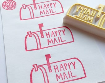 happy mail stamp | US mail box rubber stamp | snail mail letter | packaging stamp | diy holiday gift wrapping | hand carved by talktothesun