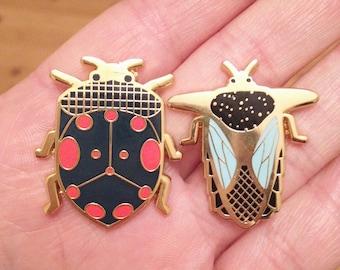 Enamel pin set of 2 // insect enamel pin // beetles // Hard Enamel // Badge // Brooch
