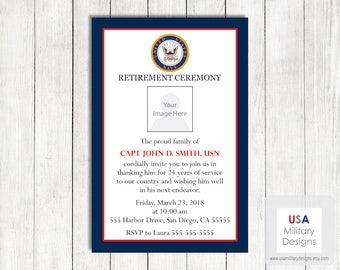Navy Retirement Invitation, Printable US Navy Retirement Invitation, Military Invitation, Military Retirement Party Invitation