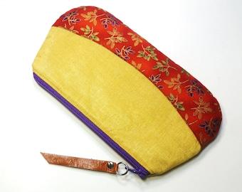 Gold Shiny Zipper Pouch Purse, Cotton with Floral Base