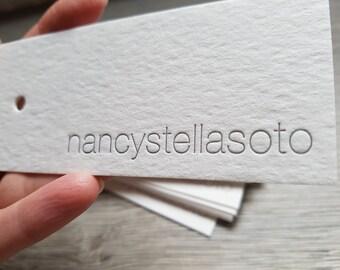 300 Custom letterpress large hang tags; hole punching, die cutting; letterpress tags custom ink color