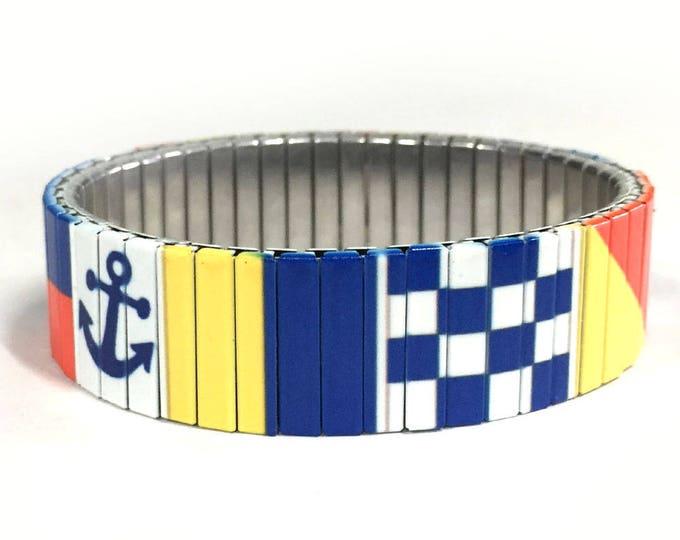 Nautical bracelet-Stretch bracelet-Sailing-Stainless Steel-Wrist Art-Sublimation-Gift for friends-Gift for him-Custom bracelet
