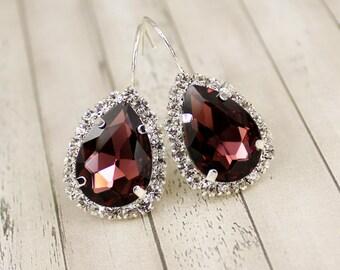 Burgundy Earring Crystal Bridal Earring Burgundy Bridal Jewelry Crystal Wedding Marsala Bridesmaid Bridal Jewelry Set Cranberry Burgandy