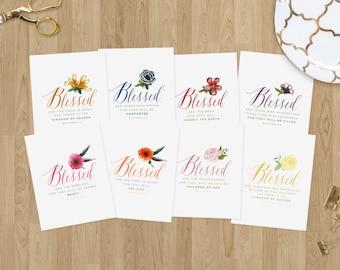 The Beatitudes Set - Matthew 5:3-10 - Instant Download - Bible Verse Wall Art - Scripture Print - Christian Printable Art - Flower Prints