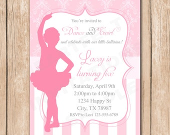 Ballerina Birthday Invitation | Silhouette, Damask - 1.00 each printed