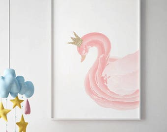 Swan Print,  Swan Nursery Art,Nursery Art Print, Swan Poster, Swan Wall Decor, Swan Art,Kids Room Decor, Swan Wall Art, Baby Girl Nursery 2