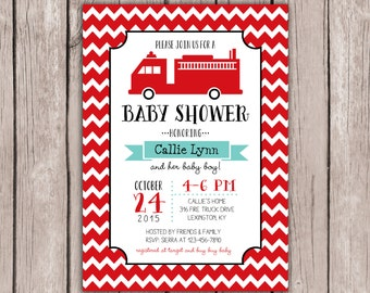 PRINTABLE- Fire Truck Baby Shower Invite- Fire Truck Birthday Invite- Baby Shower Invite- 5x7 JPG