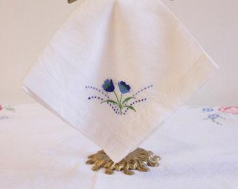 Vintage White Handkerchief embroidered with blue flowers Wedding hankie