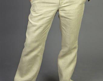 Men's Pants - Classic / Happyhempy / 100% Hemp / Eco-friendly / Vegan / Handmade / Sustainable fashion / Beige