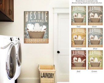 Westie west highland terrier dog Laundry Company basket illustration graphic art on canvas by stephen fowler