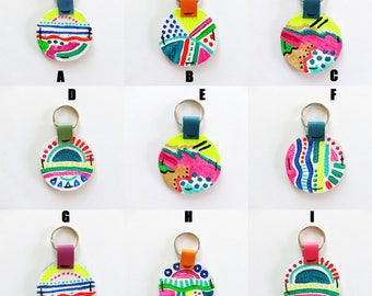 Painted Leather Key Chain / Bag Accessories / Purse Charm / Key Ring / Gifts Under 20 / Leather Accessories / Painted Leather
