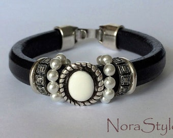 Black licorice leather bracelet with white pearls