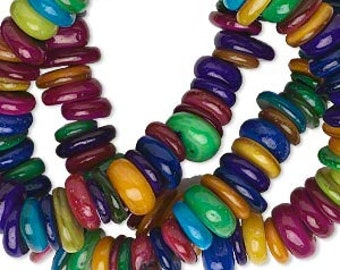 Mother of Pearl beads, Multicolor Beads, MOP Beads, Shell Beads, 6x1 to 9x4mm, 15 inch strand, D550