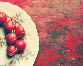 Radish Photograph - Food Photography - Farm Table Art - Kitchen Wall Art - Modern Rustic Wall Art - Farmhouse Art - Red Wood - Vintage Plate