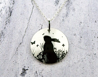Rabbit pendant, bunny necklace, unusual handmade jewellery, gift for rabbit lover, bunny gifts. Friendship gifts, gifts for women. P440