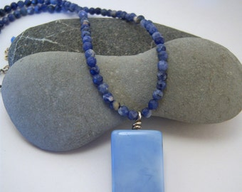 Blue Lace Agate Rectangle Pendant Necklace w/ Faceted Round Sodalite Beads, Sterling Clasp & Extender Chain