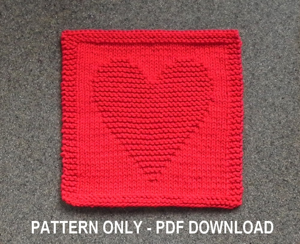 Knitted HEART Dishcloth PATTERN Valentine\'s Gift Idea
