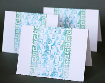 Mitla Wave Double-Sided Notecards, set of 4, gocco printed