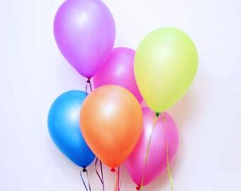 "Neon latex balloons - 11"" - Set of 12.  Neon hot pink, magenta, orange, purple, blue, and neon green balloons.  Bright neon balloons."