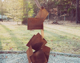 "Abstract modern rusted patina corten steel sculpture named ""Otto corten"""