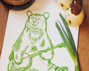 Kitchen Towel - Hand Screen Printed Green Bear Playing the Banjo - Cotton Tea Towel - Towel for Dishes - Wedding Gift Birthday Gift Idea